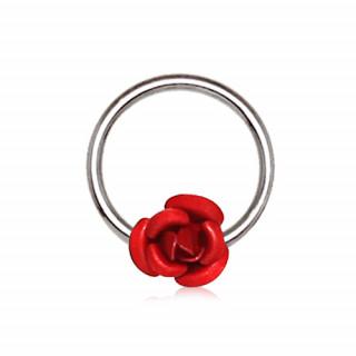 Piercing anneau CBR à rose rouge (septum, cartilage oreille...)