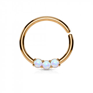 Piercing anneau cuivré serti de 3 opales claires