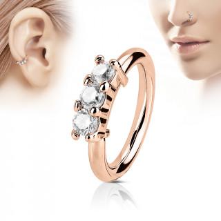 Piercing anneau cuivré trois pierres