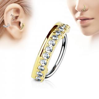Piercing anneau demi-cercle doré pavé de strass (nez, cartilage)