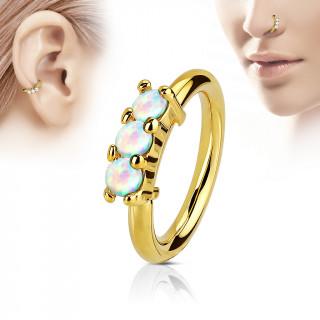 Piercing anneau doré avec trois opales