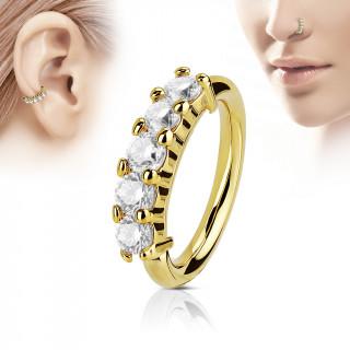 Piercing anneau doré couronne de pierres claires