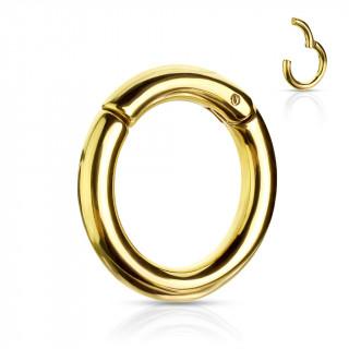 Piercing anneau écarteur doré à segment clips