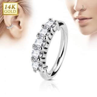 Piercing anneau en or blanc 14k à couronne de zirconiums