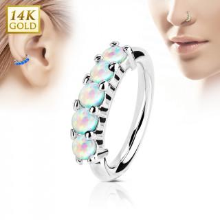 Piercing anneau en or blanc 14k à couronne d'Opales blanches