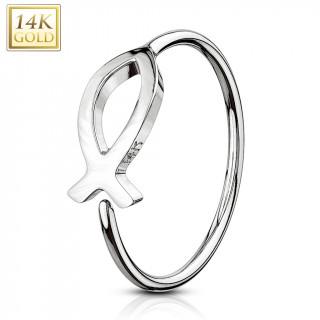 Piercing anneau en or blanc 14 carats avec poisson (tragus, narine...)