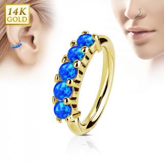 Piercing anneau en or jaune 14k à couronne d'Opales bleues