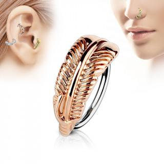 Piercing anneau à feuille cuivrée (nez, cartilage)