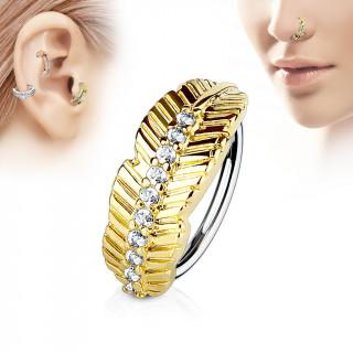 Piercing anneau feuille dorée sertie de strass (nez, cartilage)