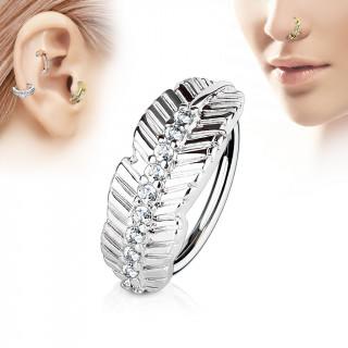 Piercing anneau feuille sertie de strass (nez, cartilage)
