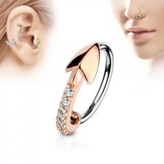 Piercing anneau flèche cuivrée pavée de strass (nez, cartilage)