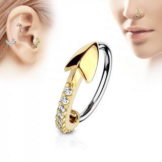 Piercing anneau flèche dorée pavée de strass (nez, cartilage)