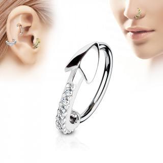Piercing anneau flèche pavée de strass (nez, cartilage)