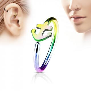 Piercing anneau nez / cartilage arc en ciel à ancre de marine