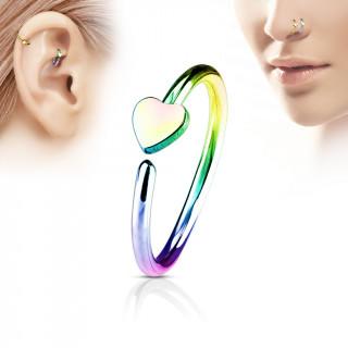 Piercing anneau nez / cartilage arc en ciel à coeur