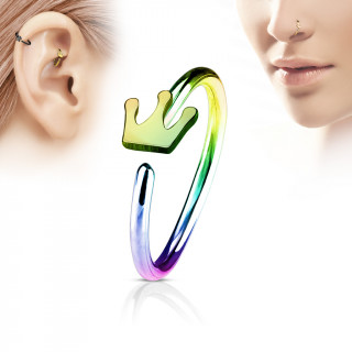 Piercing anneau nez / cartilage arc en ciel à couronne