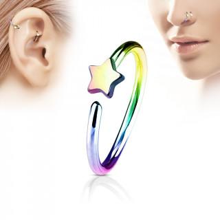 Piercing anneau nez / cartilage arc en ciel à étoile