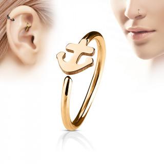 Piercing anneau nez / cartilage cuivré à ancre de marine