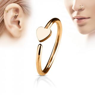 Piercing anneau nez / cartilage cuivré à coeur