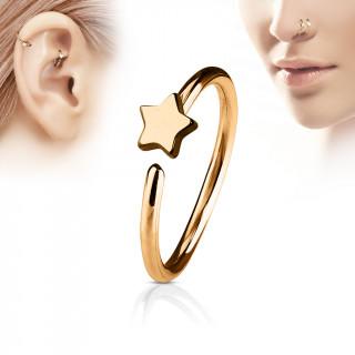Piercing anneau nez / cartilage cuivré à étoile