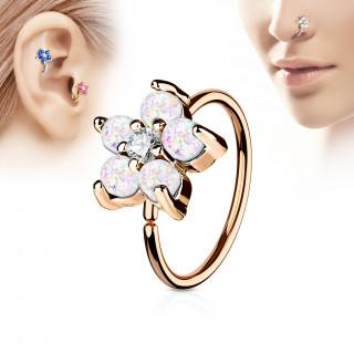 Piercing anneau nez / cartilage cuivré à fleur d'opales blanches et strass