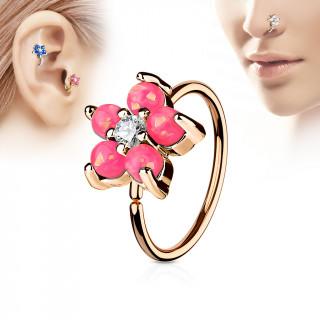 Piercing anneau nez / cartilage cuivré à fleur d'opales roses et strass