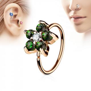 Piercing anneau nez / cartilage cuivré à fleur d'opales vert foncé et strass