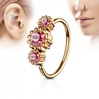 Piercing anneau nez / cartilage cuivré à trio de soleils à strass - Rose