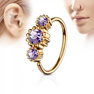 Piercing anneau nez / cartilage cuivré à trio de soleils à strass - Violet tanzanite