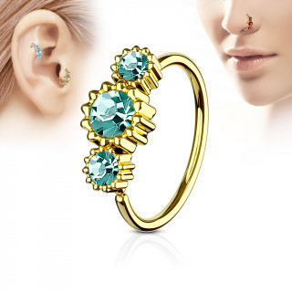 Piercing anneau nez / cartilage doré à trio de soleils à strass - Vert emeraude
