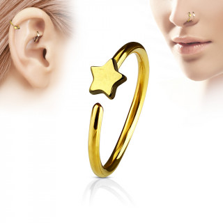 Piercing anneau nez / cartilage doré à étoile