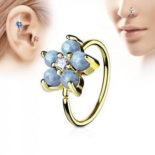 Piercing anneau nez / cartilage doré à fleur d'opales aqua et strass