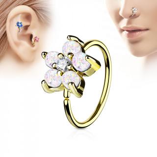 Piercing anneau nez / cartilage doré à fleur d'opales blanches et strass