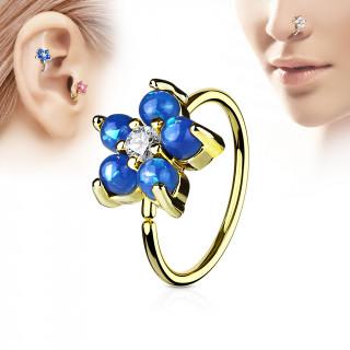 Piercing anneau nez / cartilage doré à fleur d'opales bleues et strass