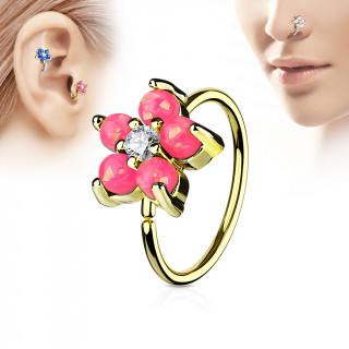 Piercing anneau nez / cartilage doré à fleur d'opales roses et strass