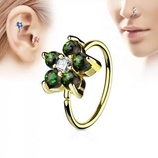 Piercing anneau nez / cartilage doré à fleur d'opales vert foncé et strass
