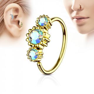 Piercing anneau nez / cartilage doré à trio de soleils à strass - Aurore boréale