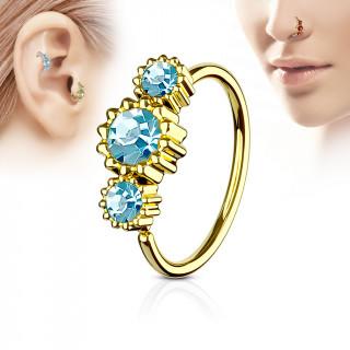Piercing anneau nez / cartilage doré à trio de soleils à strass - Bleu aqua