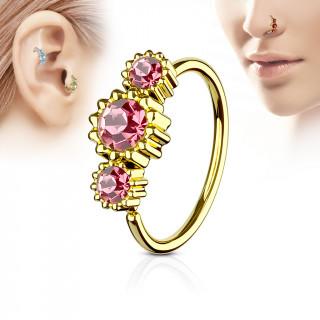 Piercing anneau nez / cartilage doré à trio de soleils à strass - Rose