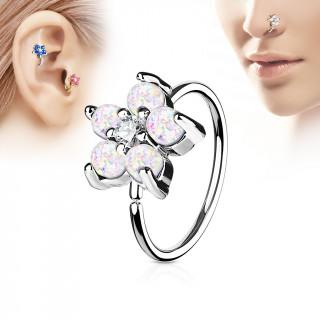 Piercing anneau nez / cartilage à fleur d'opales blanches et strass