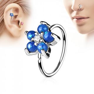 Piercing anneau nez / cartilage à fleur d'opales bleues et strass