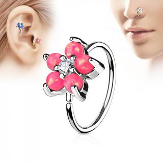 Piercing anneau nez / cartilage à fleur d'opales roses et strass