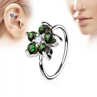 Piercing anneau nez / cartilage à fleur d'opales vert foncé et strass
