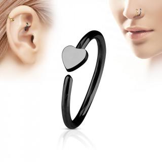 Piercing anneau nez / cartilage noir à coeur