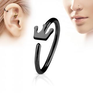 Piercing anneau nez / cartilage noir à couronne
