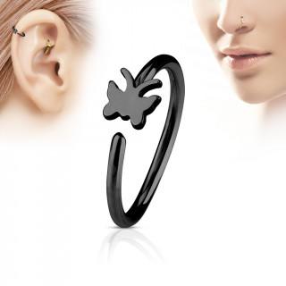Piercing anneau nez / cartilage noir à papillon