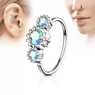 Piercing anneau nez / cartilage à trio de soleils à strass - Aurore boréale