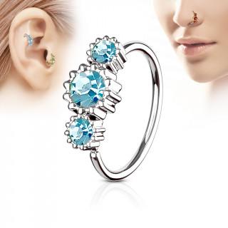 Piercing anneau nez / cartilage à trio de soleils à strass - Bleu aqua