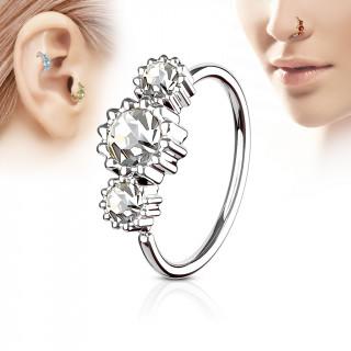 Piercing anneau nez / cartilage à trio de soleils à strass - Clair