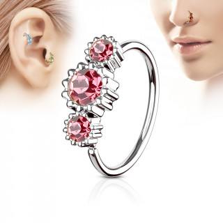 Piercing anneau nez / cartilage à trio de soleils à strass - Rose